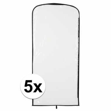 5x kostuum opberghoes transparant 95 x 42 cm