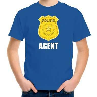 Agent politie embleem carnaval t shirt blauw voor kinderen