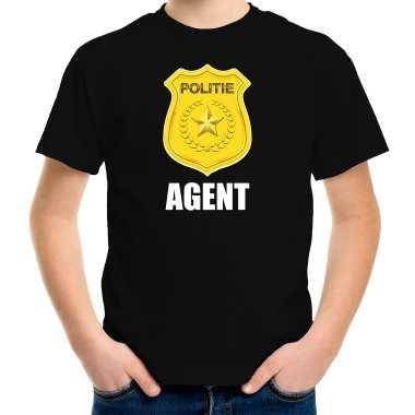 Agent politie embleem carnaval t shirt zwart voor kinderen