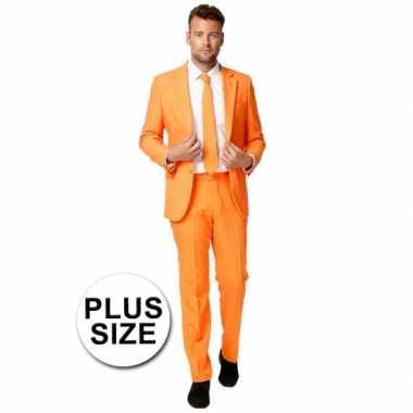 Big size business kostuum oranje