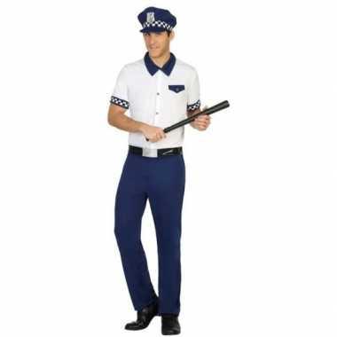 Blauw/wit politie verkleed kostuum/kostuum voor heren