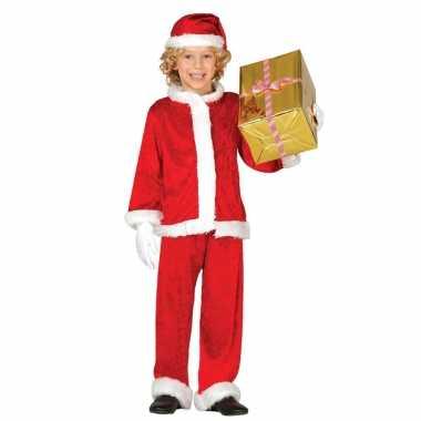 Budget pluche kerstman verkleed kostuum voor kinderen 3 delig