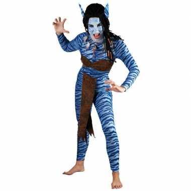 Carnaval blauwe jungle strijdster kostuum voor vrouwen