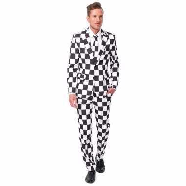 Carnavals heren kostuum 3 delig geblokt