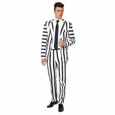 Carnavals kostuum heren zwart wit gestreept