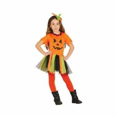 Carnavalskostuum oranje pompoen jurkje voor meisjes
