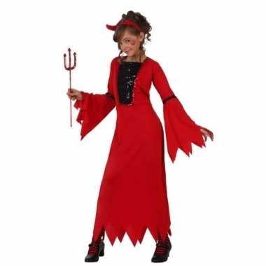 Carnavalskostuum rode duiveljurk voor meiden