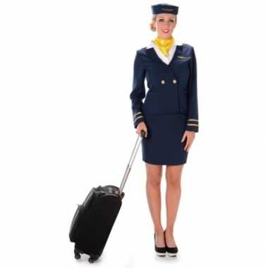 Carnavalskostuum stewardess blauw