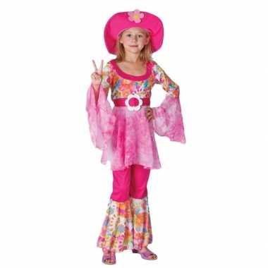 Complete roze hippie kostuum voor meiden