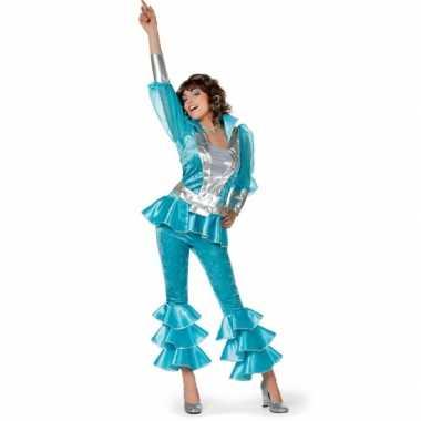 Dames disco kostuum blauw/zilver