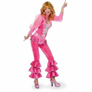 Dames disco kostuum roze/zilver