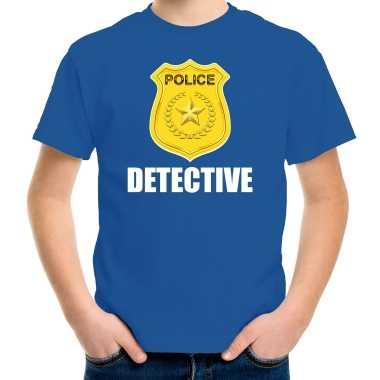 Detective police / politie embleem t shirt blauw voor kinderen