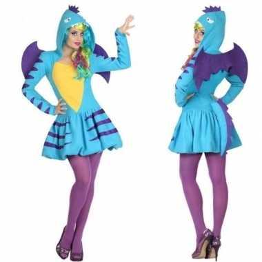 Dierenkostuum blauwe draak verkleed kostuum/jurk voor dames
