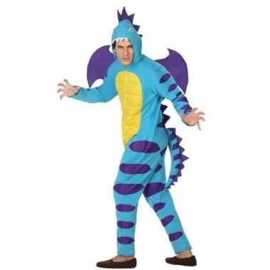 Dierenkostuum blauwe draak verkleedkostuum voor volwassenen