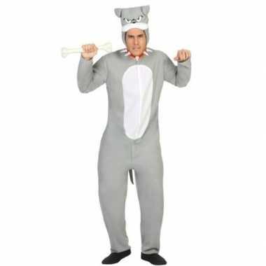 Dierenkostuum pit bull hond verkleed kostuum grijs voor volwassenen