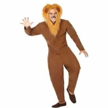 Dierenkostuum verkleed kostuum bruine leeuw voor volwassenen