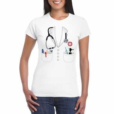 Doktersjas kostuum t shirt wit voor dames