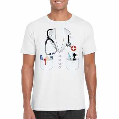 Doktersjas kostuum t shirt wit voor heren