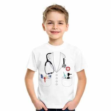 Doktersjas kostuum t shirt wit voor kinderen
