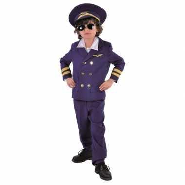 Donkerblauw piloten kostuum voor kids