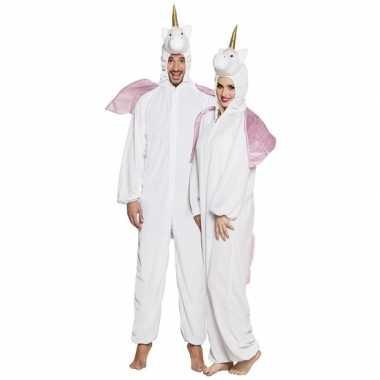 Eenhoorn dieren onesie/kostuum voor volwassenen wit