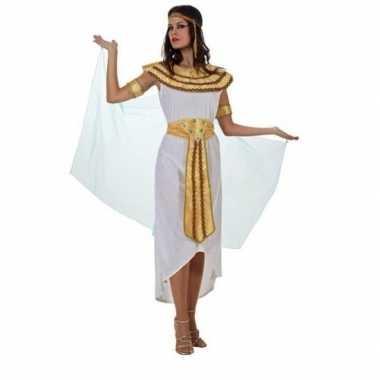 Egyptische farao cleopatra verkleed kostuum/jurk wit voor dames