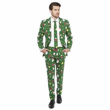 Feest kostuum kerstmis print groen