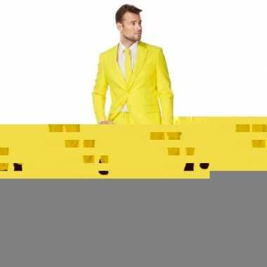 Fel geel kostuum kostuum voor heren