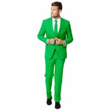 Fel groen kostuum kostuum voor heren