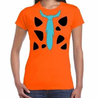 Fred holbewoner kostuum t shirt oranje voor dames