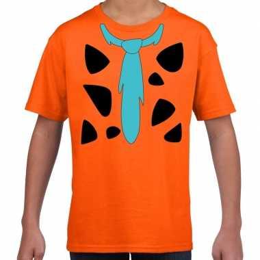 Fred holbewoner kostuum t shirt oranje voor kinderen