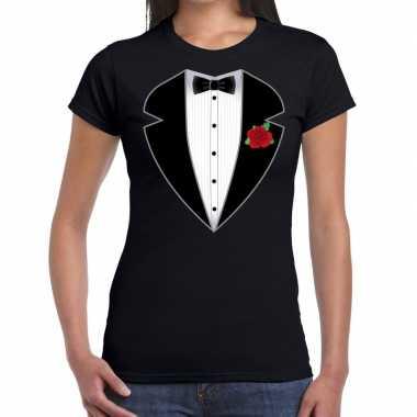 Gangster / maffia kostuum kostuum t shirt zwart voor dames