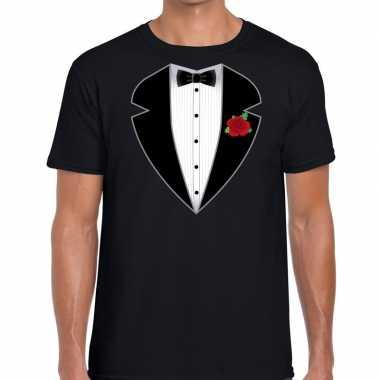 Gangster / maffia kostuum kostuum t shirt zwart voor heren
