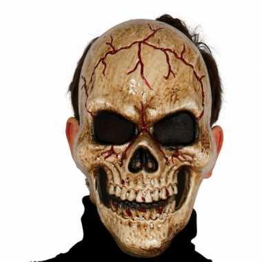 Gebarsten schedel masker voor skelet kostuum