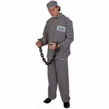 Gestreept gevangene kostuum volwassene