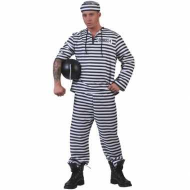 Gevangenen kostuum gestreept met pet