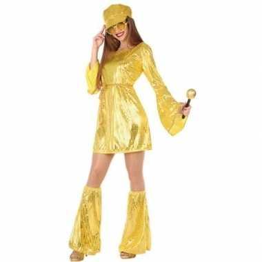 Gouden disco verkleed kostuum/kostuum voor dames