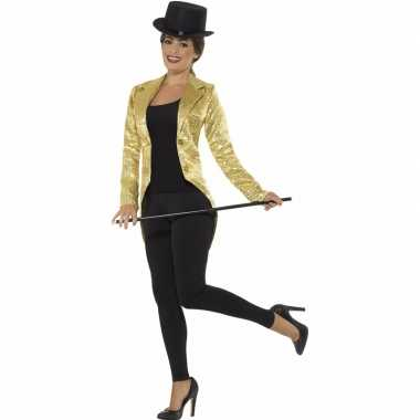 Gouden slipjas met pailletten verkleed kostuum/jas voor dames