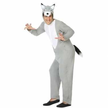 Grijze wolf dieren verkleed kostuum/onesie voor volwassenen
