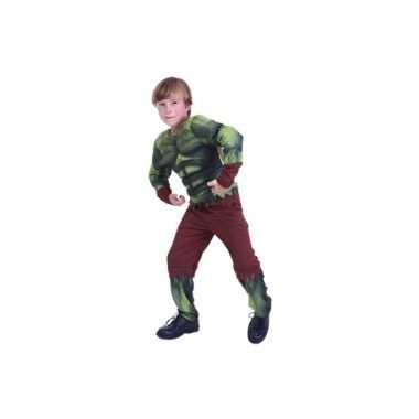 Groen gespierd monster kostuum voor kids
