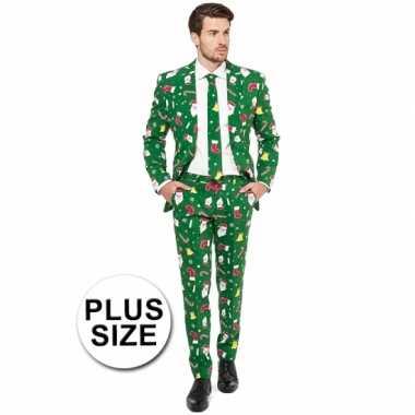 Groot feest kostuum kerstmis print groen