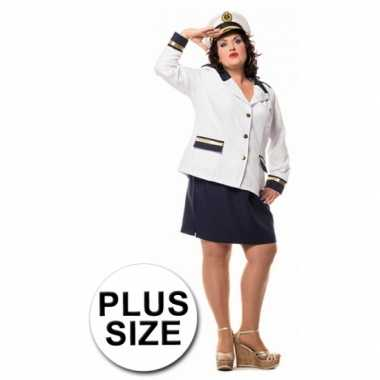 Grote maat dames uniform marine