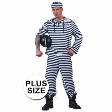 Grote maat gevangenen kostuum gestreept met pet