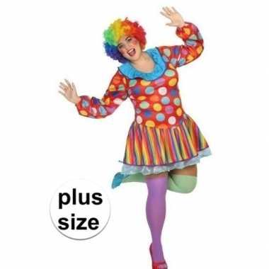 Grote maten clown verkleed jurk/kostuum voor dames