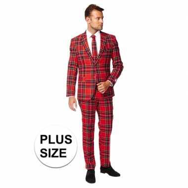 Grote maten heren verkleed kostuum/kostuum rode schotse print