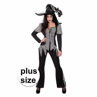 Halloween grote maat zwart/wit heksen kostuum voor dames
