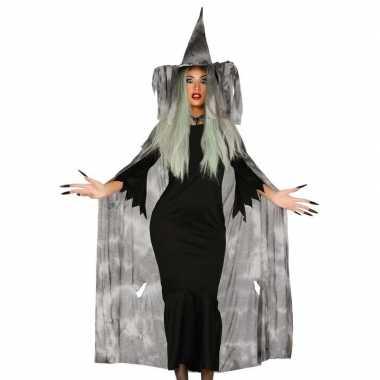 Halloween heksencape halloween kostuum met hoed voor dames