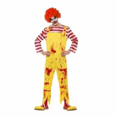Halloween horror clown kostuum rood/geel voor heren