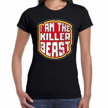 Halloween killer beast verkleed t shirt zwart voor dames