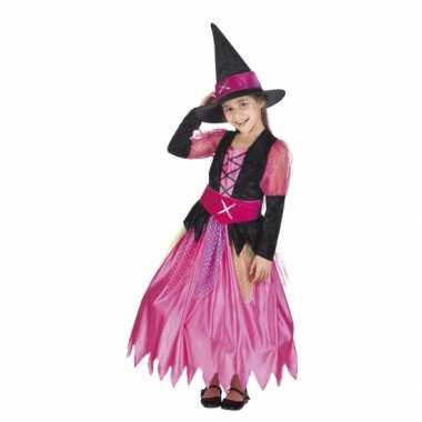 Halloween roze heksen kostuum voor meisjes